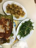 Grilled stingray, lemon chicken, kang kong garlic stir fry