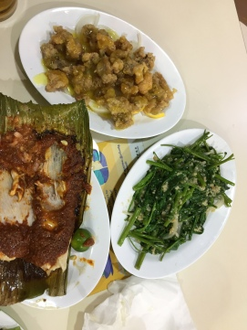 Grilled stingray, lemon chicken, kang kong garlic stir fry